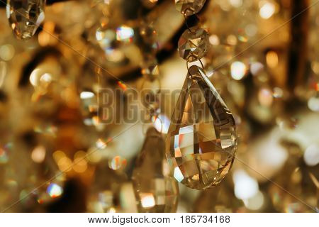 Chandelier Crystal Warm Lights Background At Indoors