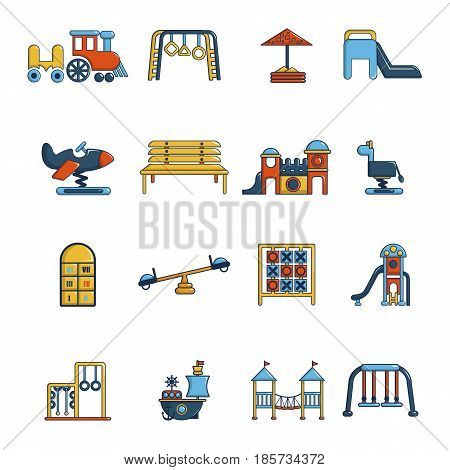 Playground equipment icons set. Cartoon illustration of 16 playground equipment vector icons for web
