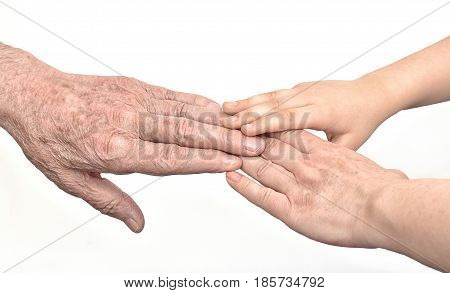 Hands of three generations - old man, woman and child