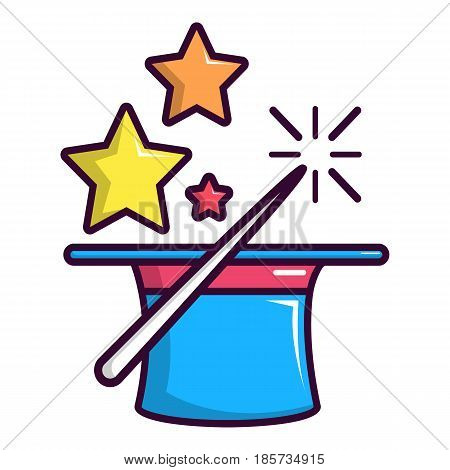 Colorful magic hat and wand icon. Cartoon illustration of colorful magic hat and wand i vector icon for web