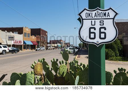 US Route 66 Oklahoma - July 7 2014: Oklahoma Route 66 Sign along the historic Route 66 in the State of Oklahoma USA.