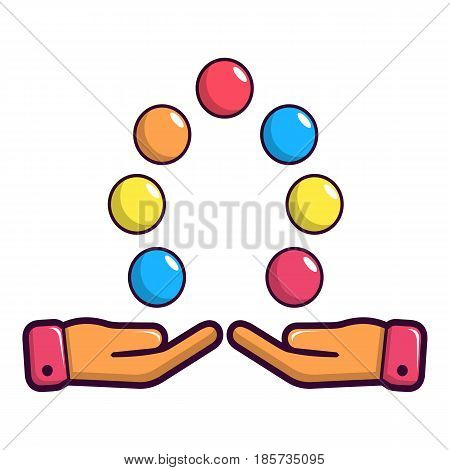 Juggler hands and balls icon. Cartoon illustration of juggler hands and balls vector icon for web