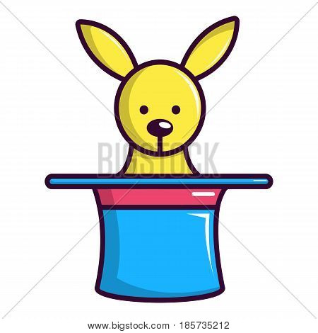 Rabbit appearing from a top magic hat icon. Cartoon illustration of rabbit appearing from a top magic hat vector icon for web