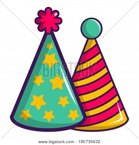 Two colorful party hats icon. Cartoon illustration of two colorful party hats vector icon for web