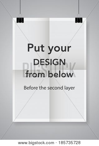 Twice a folded poster with clamps.Poster with clamps. Vector illustration.