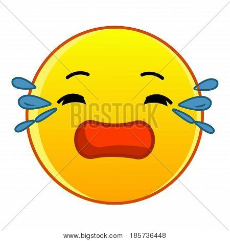 Crying yellow emoticon icon. Cartoon illustration of crying yellow emoticon vector icon for web