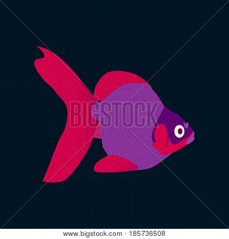 Vector illustration in flat style goldfish nature