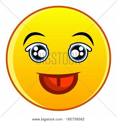 Smiling yellow emoticon icon. Cartoon illustration of smiling yellow emoticon vector icon for web