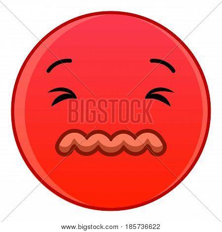Skeptical red emoticon icon. Cartoon illustration of skeptical red emoticon vector icon for web