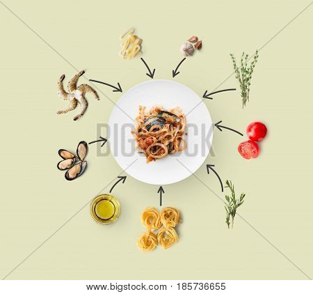 Cooking italian food, seafood pasta, isolated on beige. Frutti di mare with fettuccine spaghetti. Mussels, prawn, shrimp, calamari rings and other ingredients around plate with dish