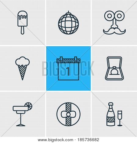 Vector Illustration Of 9 Feast Icons. Editable Pack Of Ice Cream, Sundae, Fizz And Other Elements.