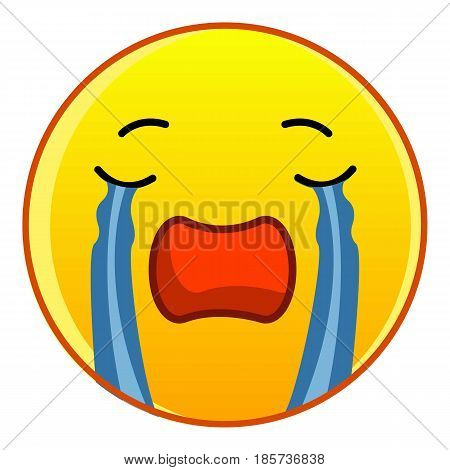 Weeping yellow emoticon icon. Cartoon illustration of weeping yellow emoticon vector icon for web