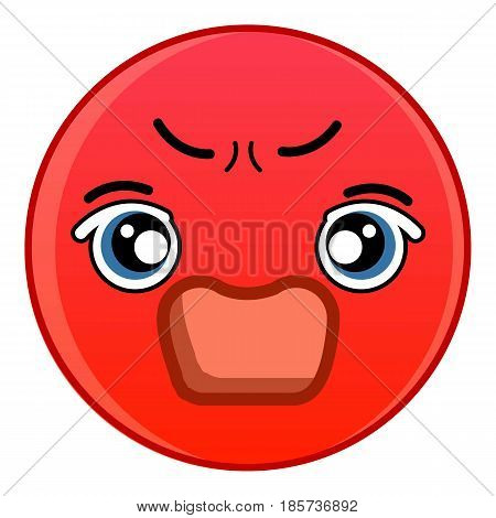 Angry red emoticon icon. Cartoon illustration of angry red emoticon vector icon for web