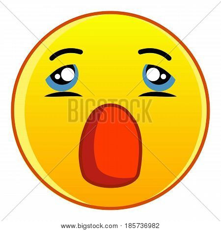 Yellow emoticon with open mouth icon. Cartoon illustration of yellow emoticon with open mouth yellow emoticon vector icon for web