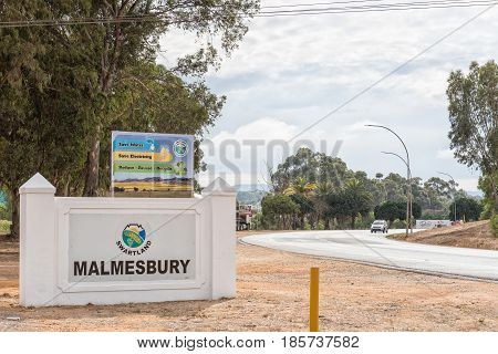 MALMESBURY SOUTH AFRICA - MARCH 31 2017: The entrance to Malmesbury a town in the Swartland area of the Western Cape Province