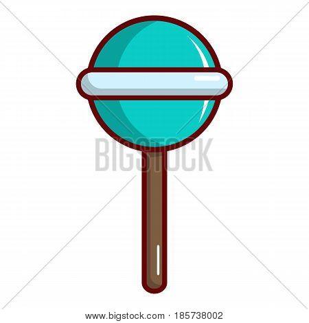 Blue round lollipop icon. Cartoon illustration of blue round lollipop vector icon for web