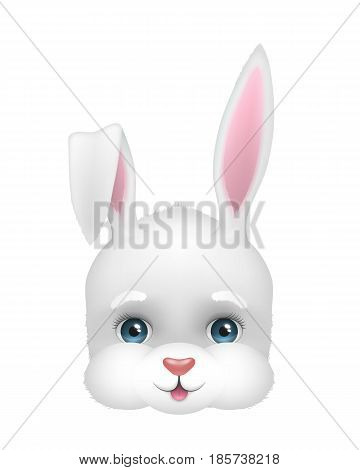Baby face of funny bunny. Easter spring symbol. Vector illustration of cute and happy white rabbit head. Cartoon character icon isolated on background. Design for logo, banner, card