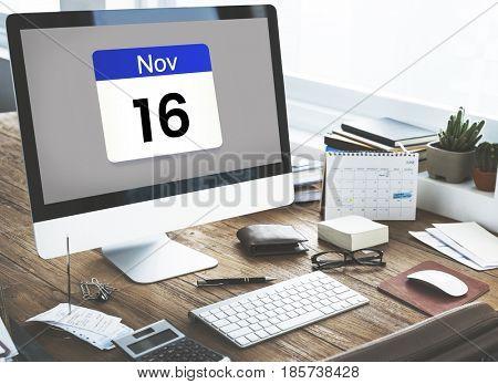 Illustration of calendar schedule personal organizer on computer