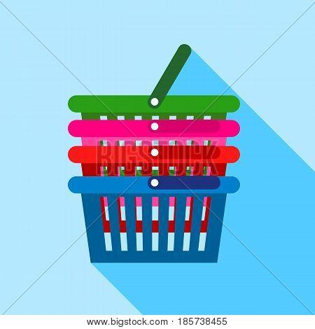 Supermarket baskets icon. Flat illustration of supermarket baskets vector icon for web