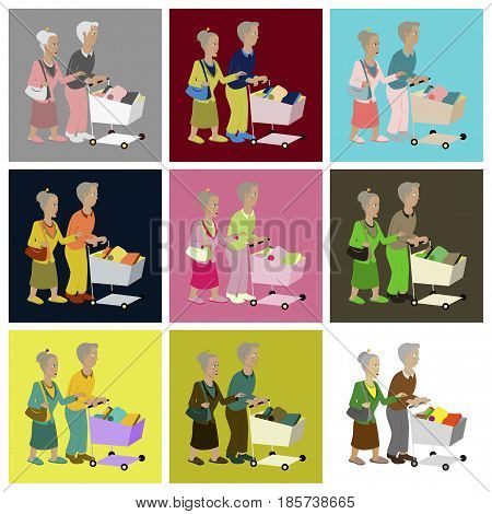 assembly of flat icons Pensioners with a trolley products