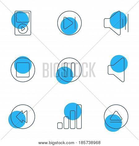 Vector Illustration Of 9 Melody Icons. Editable Pack Of Acoustic, Mp3, Lag And Other Elements.