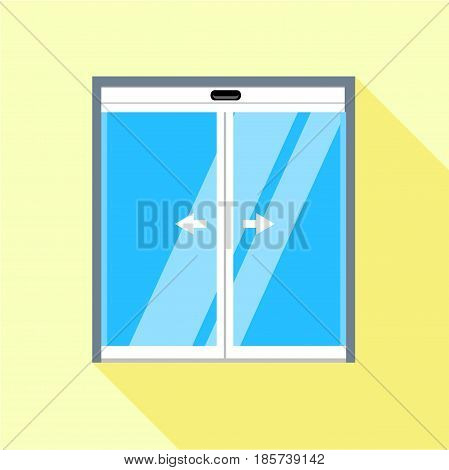 Double sliding glass doors icon. Flat illustration of double sliding glass doors vector icon for web