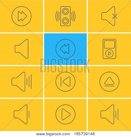 Vector Illustration Of 12 Melody Icons. Editable Pack Of Amplifier, Reversing, Mp3 And Other Elements.