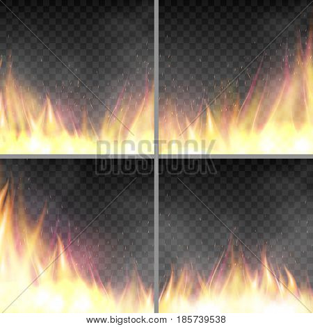 Set of design template with flame. Fiery design banners templates. Realistic blaze effect. Vector illustration with fire isolated on dark transparent background