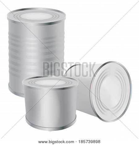 Blank tin cans mockup. Realistic illustration of blank tin cans vector mockup for web