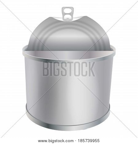 Opened tin can mockup. Realistic illustration of opened tin can vector mockup for web