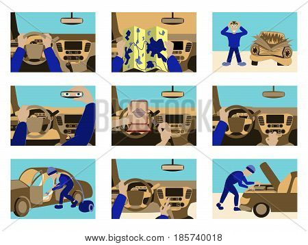 Set of illustrations car from inside icon