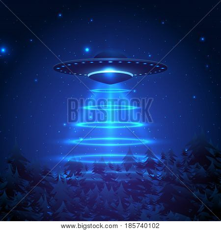 Unidentified flying object on a dark background. UFO aliens teleported object