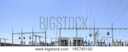 Contour silhouette. Substation powerhouse. High-voltage line Poles cable Background