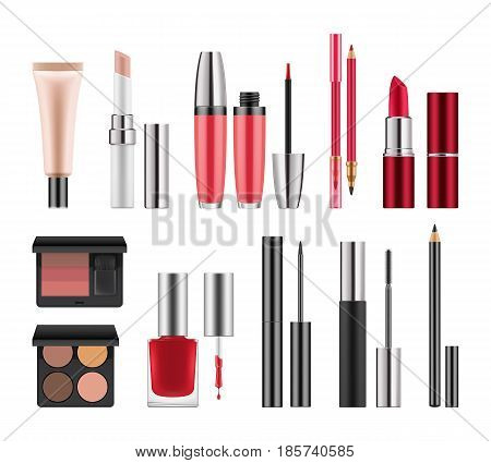 Set of packages for decorative cosmetics. Realistic blank template of containers for eyeliner, eyeshadow, lipstick and lipgloss, red nail polish, pencil for lip and eyes. Vector illustration isolated