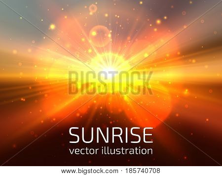 Sun and sky background. Abstract sunrise or sunset on horizon with lens flares beams and particles.