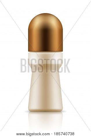 Realistic blank template of plastic bottle with roll-on body deodorant. Mock-up of package. Empty and clean 3d white plastic container. Vector mock up of packaging. Illustration isolated on white