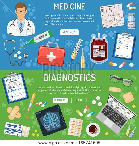 medical and healthcare horizontal banner and infographics with flat icons like doctor, health treatment, blood container, record, cardiogram, prescription. isolated vector illustration