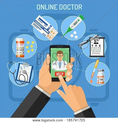 Online doctor concept with flat icons hands, smartphone and prescription, stethoscope, pills, thermometer. isolated vector illustration