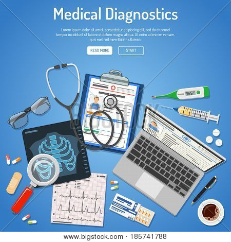 Doctors workplace and Medical diagnostics concept with flat icons laptop, x-ray, medical record, cardiogram, syringe. isolated vector illustration