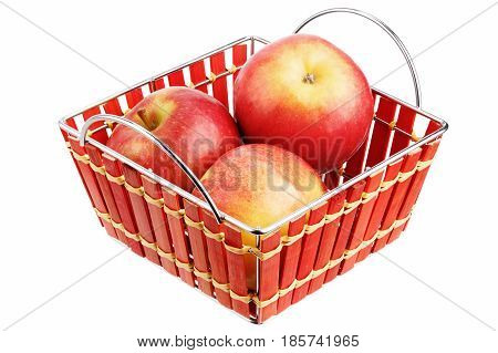 Apples in a basket isolated on white background
