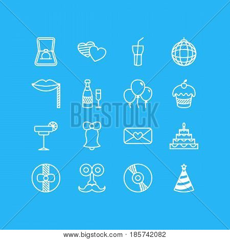 Vector Illustration Of 16 Party Icons. Editable Pack Of Martini, Muffin, Heart Letter And Other Elements.