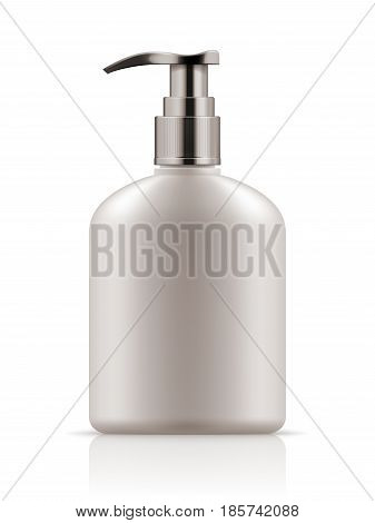 Vector realistic blank template of plastic bottle with dispenser. Mock-up of package. Empty and clean 3d white plastic container with pump for liquid soap, care cream, shampoo, body cream.