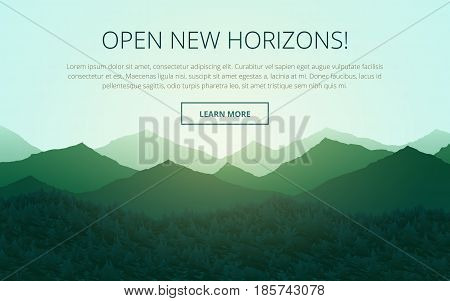 Flat Landscape with mountain peaks and forest at sunrise. Travel company presentation template. Vector illustration