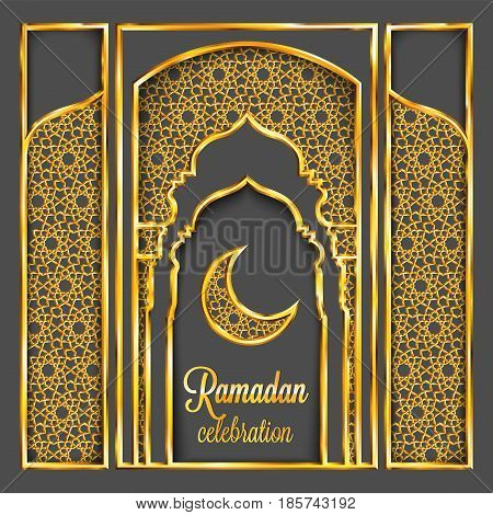 Ramadan Kareem Greeting Card With Traditional Islamic Pattern, Invitation Or Brochure In Eastern Sty