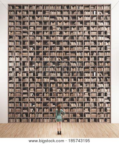 Library or bookshop in college, 3d render illustration