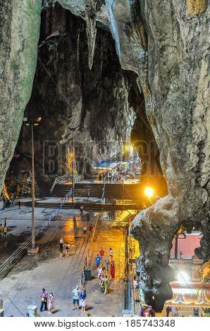 KUALA LUMPUR, MALAYSIA - OCTOBER 28, 2012: Interior of the Batu Caves near Kuala Lumpur Malaysia