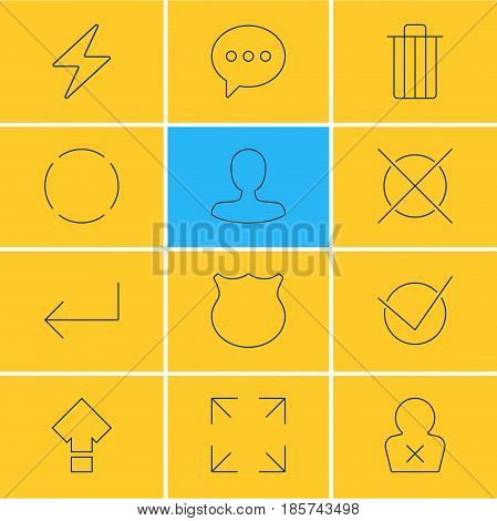 Vector Illustration Of 12 UI Icons. Editable Pack Of Bolt, Man Member, Garbage And Other Elements.