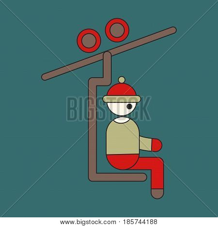 Icon in flat design Man on Ski lift