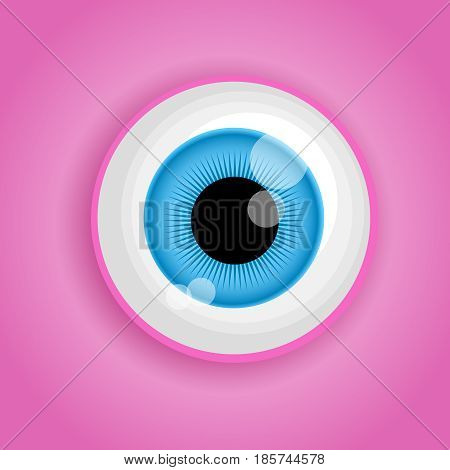 Background with cartoon monster eye in pink colors. Vector illustration for Halloween.