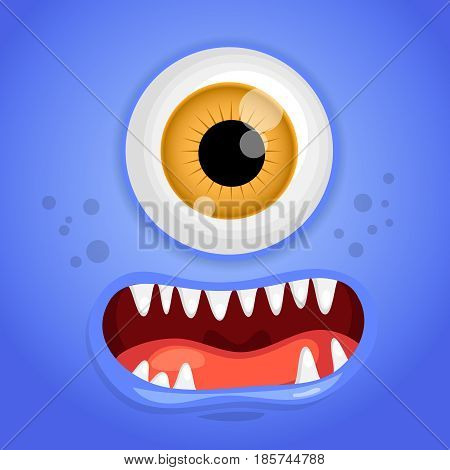 Cartoon monster face. Vector Halloween blue smiling fairy tale avatar. Vector illustration.